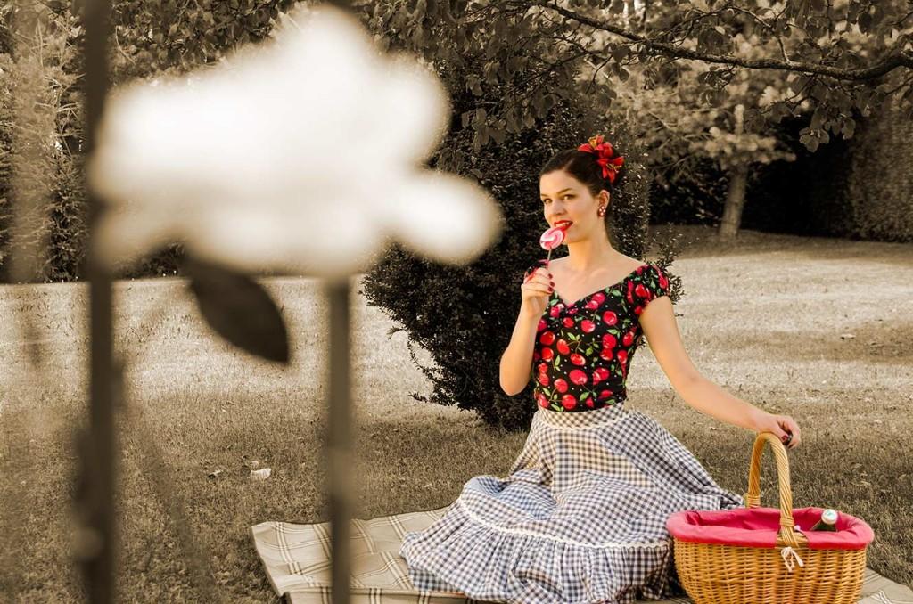 RetroCat mit Picknick-Korb und Lolly