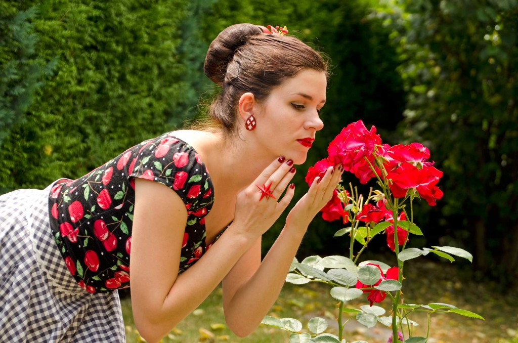 RetroCat mit roten Accessoires und Rosen