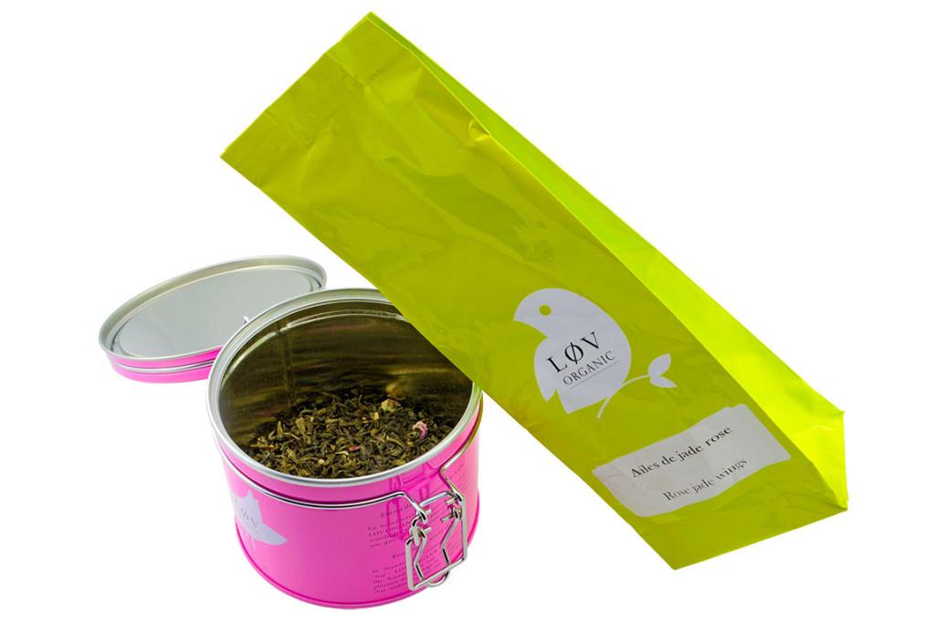 Der grüne Rosentee von Lov Organic im Nachfüllpack