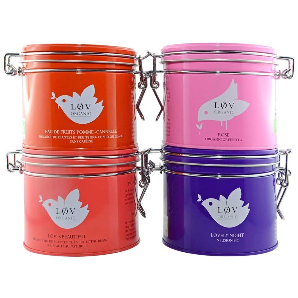 Vier verschiedene Teesorten von Lov Organic