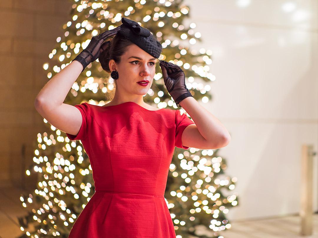 rote weihnachten ein festliches vintage kleid aus den 50ern. Black Bedroom Furniture Sets. Home Design Ideas