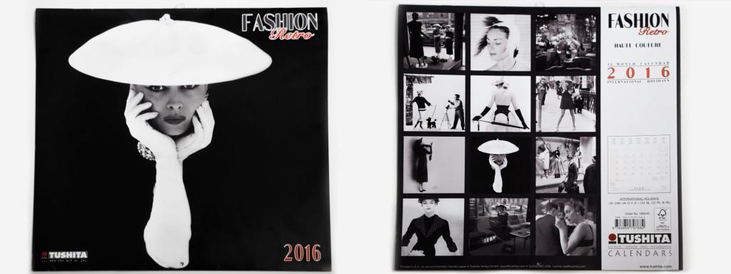 Ein Wandkalender mit Retro-Fashion-Bildern