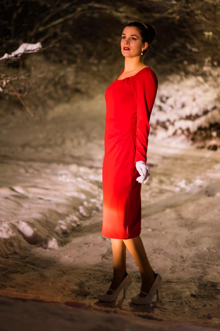 RetroCat in einem schmal geschnittenen roten Kleid