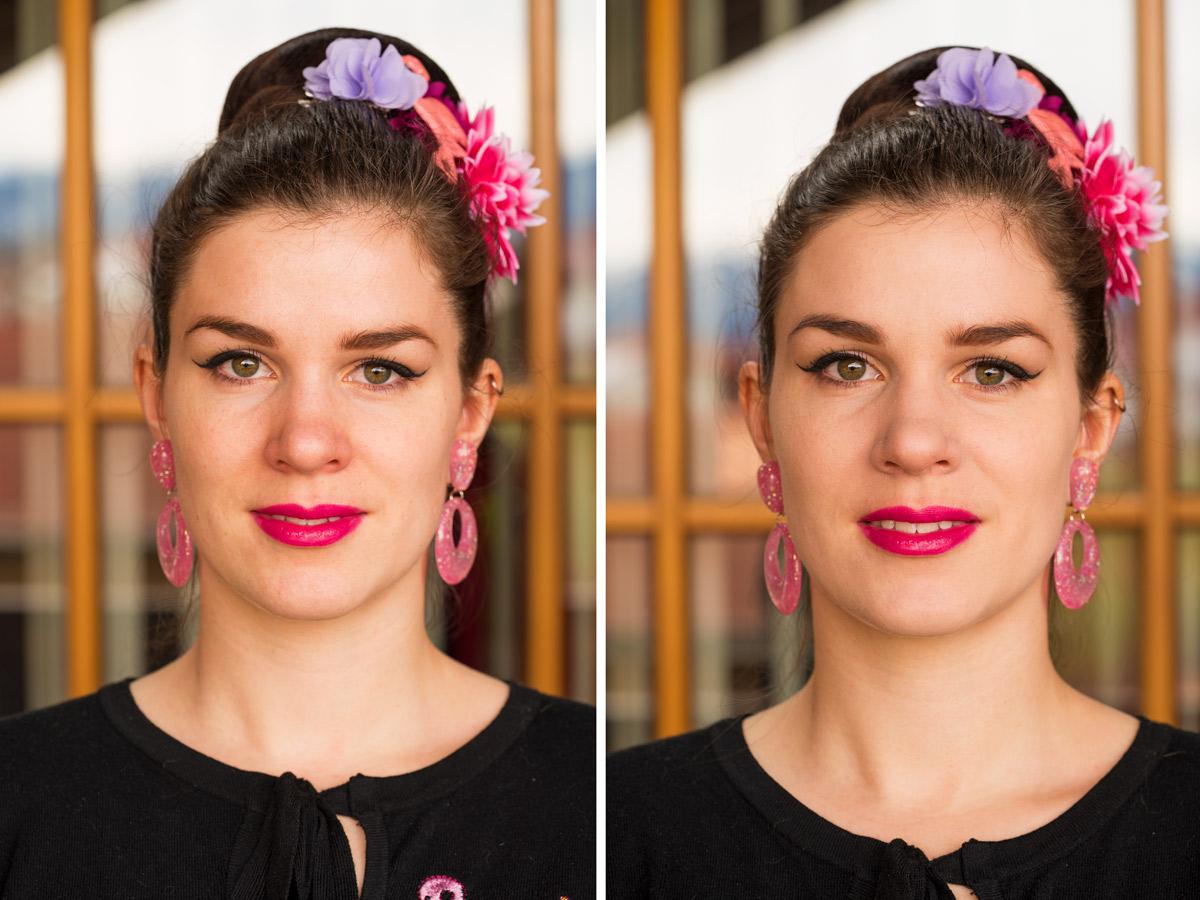 RetroCat mit einer Foundation von Chanel im Vorher-Nachher-Vergleich