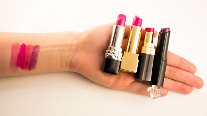 Swatches von vier tollen pinken Lippenstiften