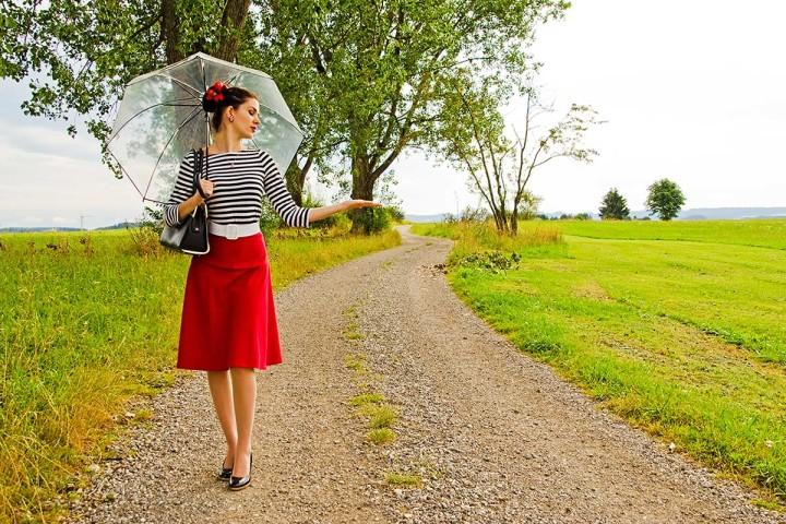 RetroCat in einem sommerlichen Outfit mit Regenschirm