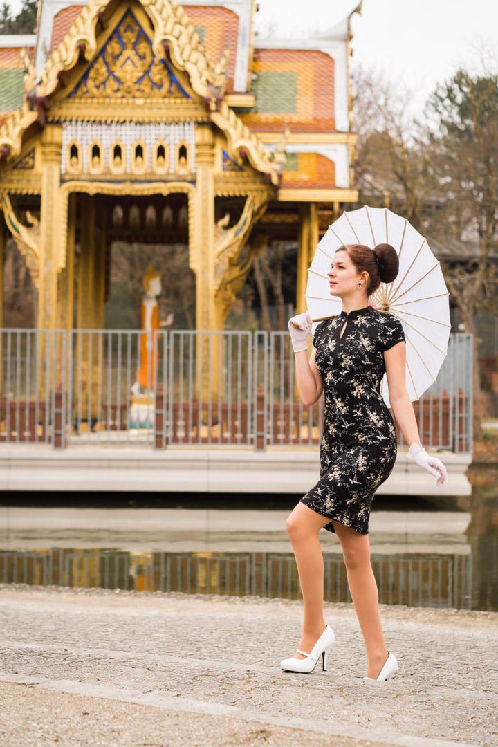 RetroCat mit einem Kleid im Asia-Stil