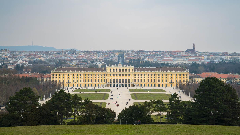 Ein Blick auf Schloss Schönbrunn und Wien