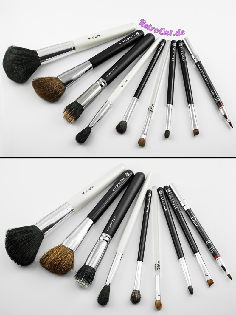 Makeup brushes before and after cleaning them