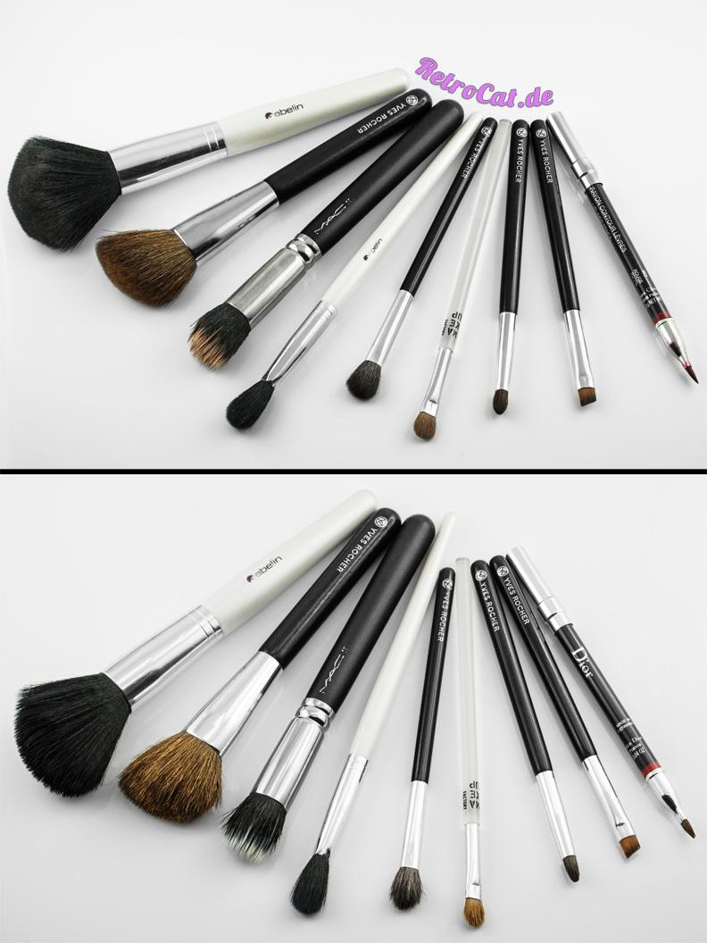 Make-up-Pinsel vor und nach der Reinigung