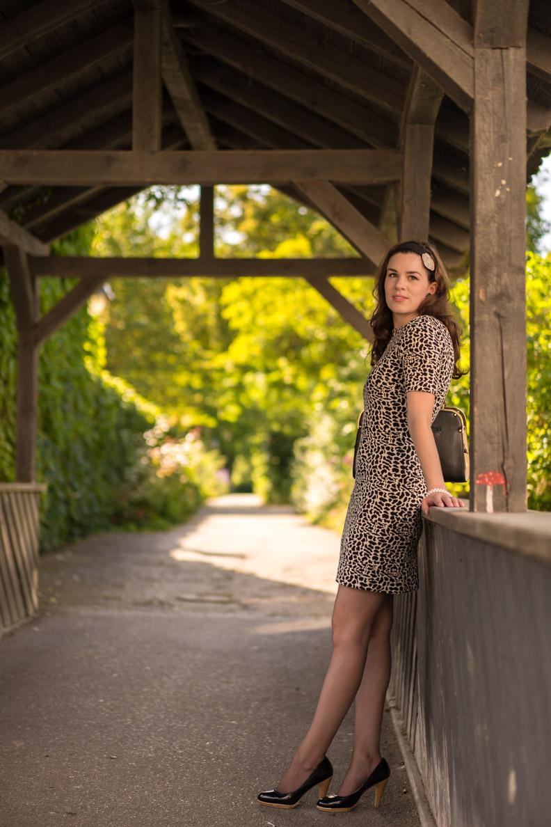 RetroCat in einem Kleid mit Leopardenmuster