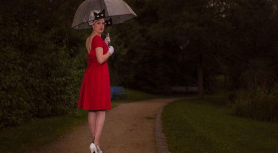 RetroCat in einem Regen-Outfit im Vintage-Stil