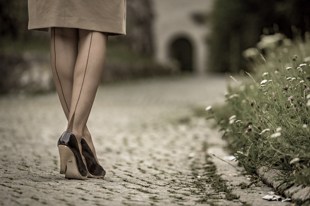 RetroCat mit den Secrets in Lace Elegance French Heel Nahtstrümpfen