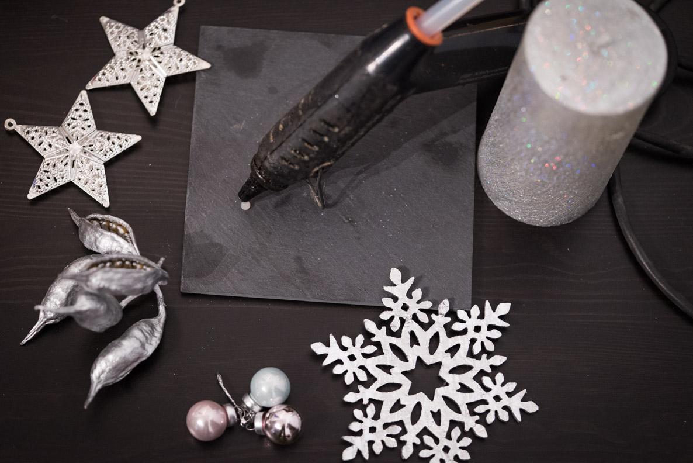 Utensilien zum Basteln einer DIY-Weihnachtsdeko