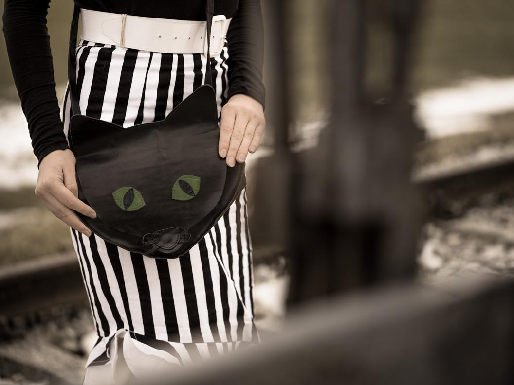 RetroCat mit einer handgemachten Katzentasche aus Leder