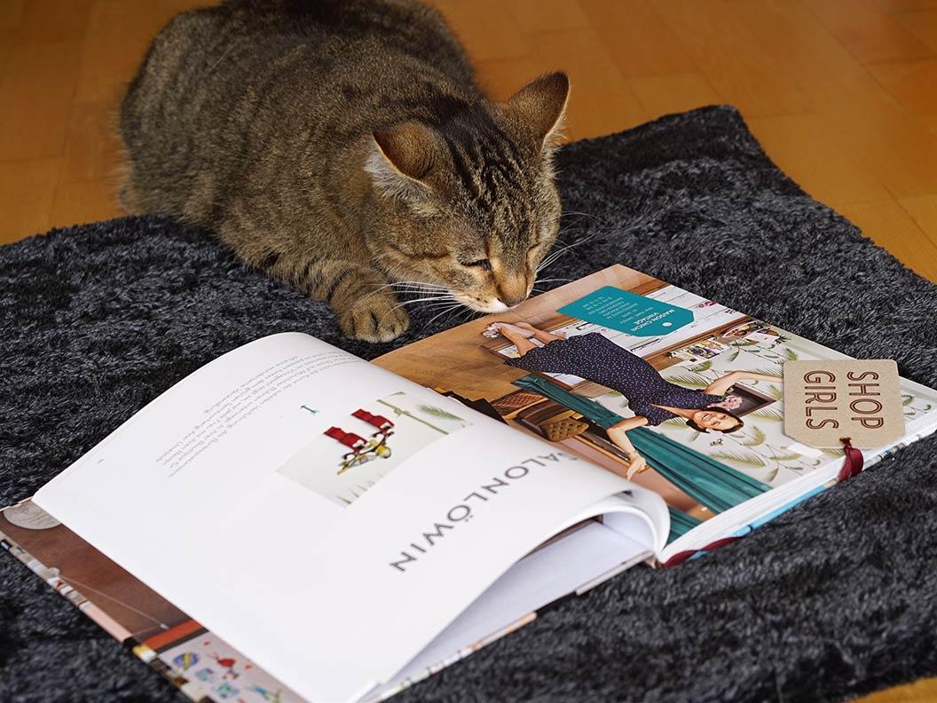 """RetroCats Kater und das Buch """"Shop Girls"""""""