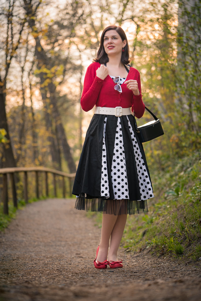 RetroCat mit Retro-Kleid, rotem Cardigan und Vintage-Accessoires