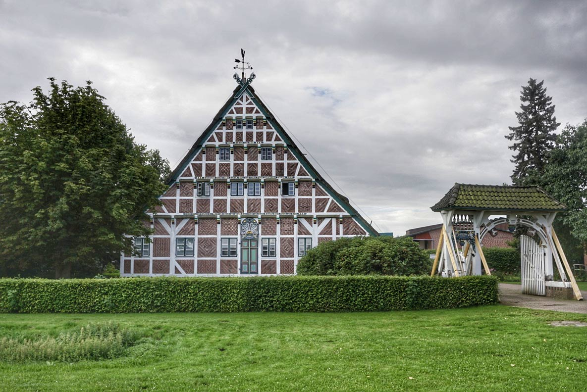 Ein Fachwerkhaus im Hamburger Umland, Altes Land genannt.