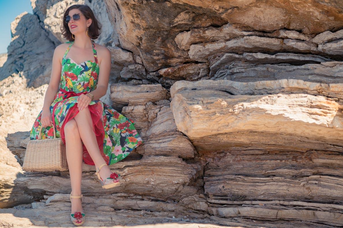 """RetroCat mit dem Kleid """"Tropenwald"""" von Belle Couture"""