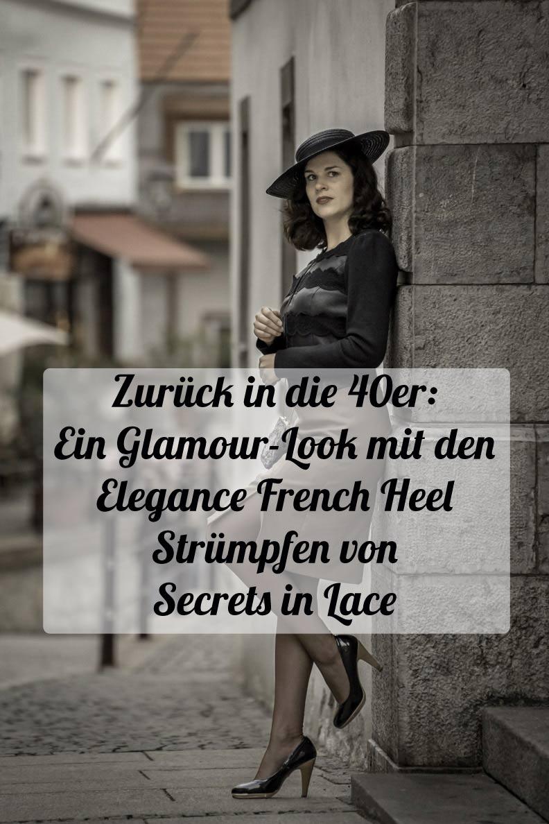 Glamour pur: RetroCat mit den Elegance French Heel Strümpfen von Secrets in Lace