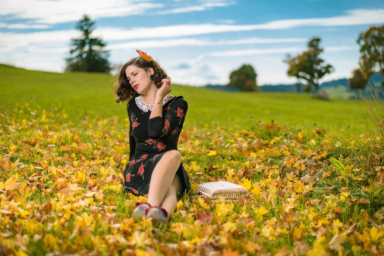 RetroCat mit einem Rosen-Kleid von Vive Maria im Herbstlaub