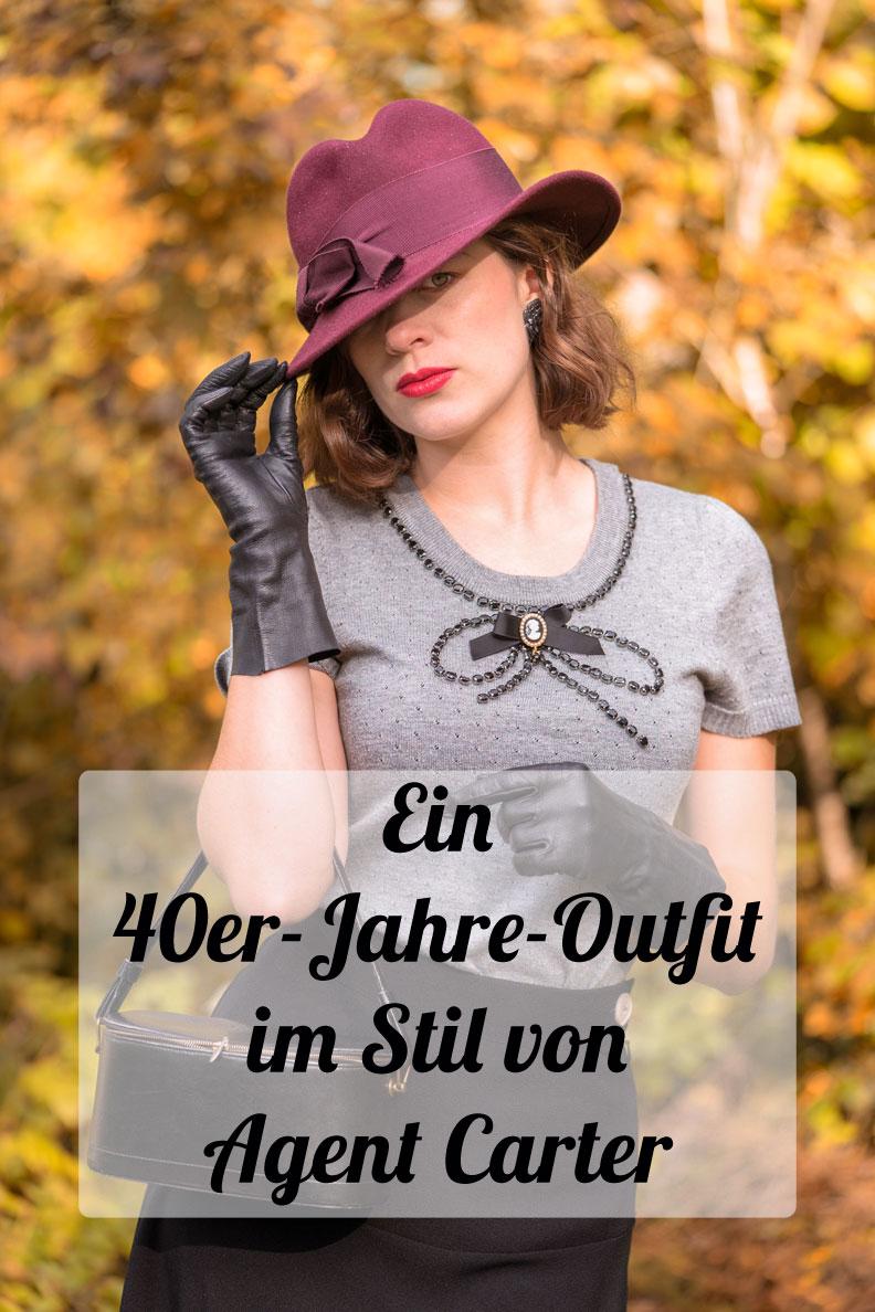 RetroCat in einem Look im Stil von Agent Carter mit dem 1940s Swing Skirt von Pretty Retro