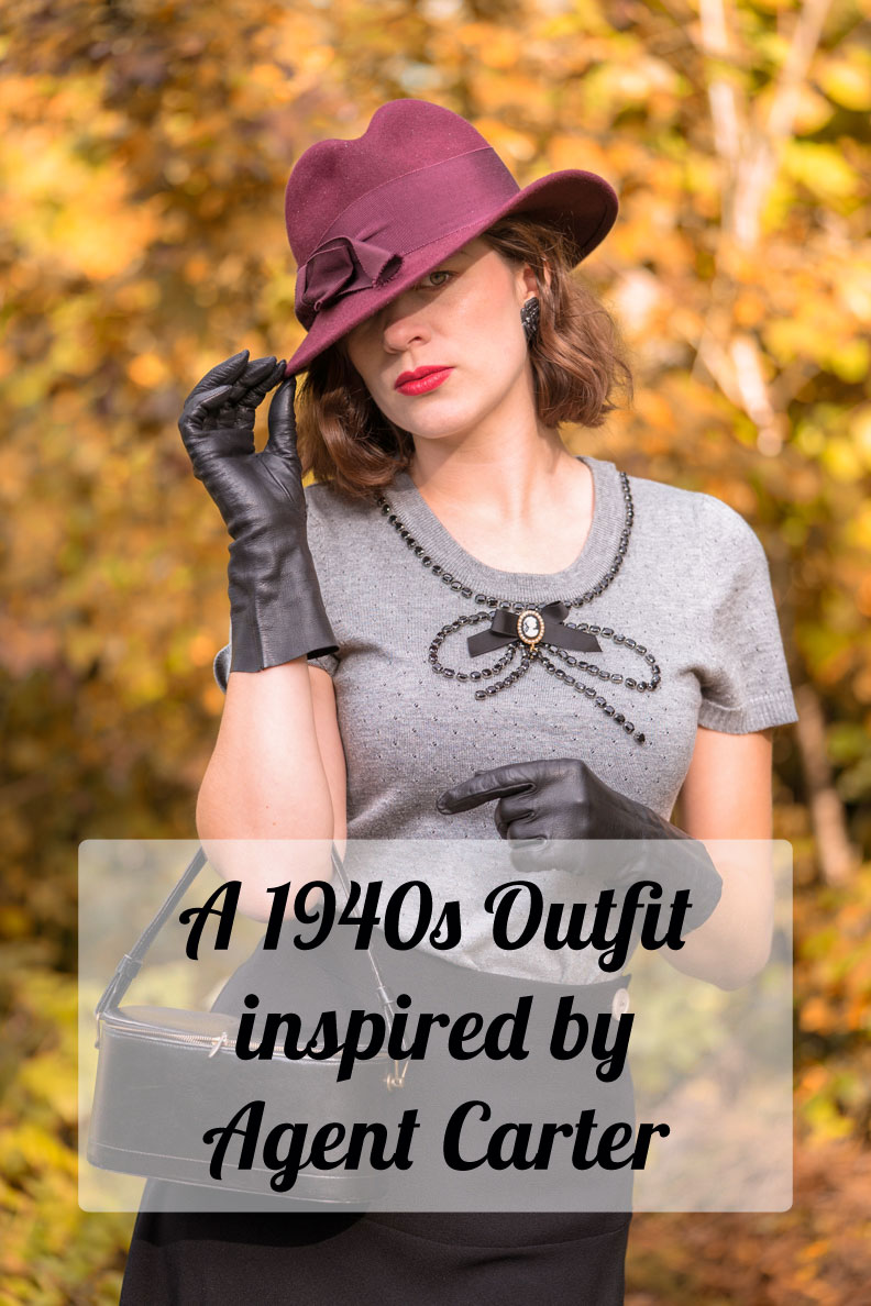 RetroCat with a Look inspired by Agent Carter wearing the 1940s Swing Skirt by Pretty Retro
