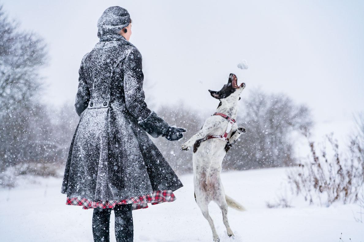 RetroCat mit Hell-Bunny-Mantel beim Toben im Schnee mit einem Hund
