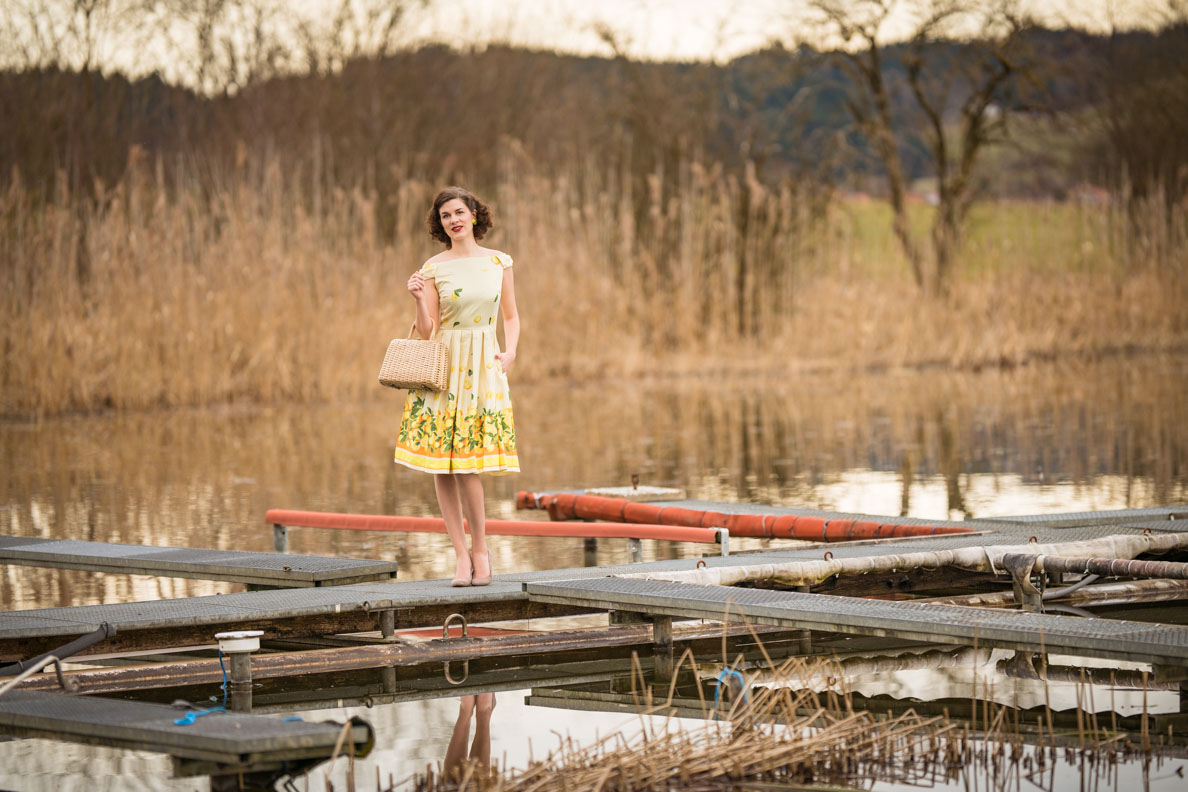 "RetroCat mit dem Lindy Bop ""Chrstie"" Lemon Print Dress am See"