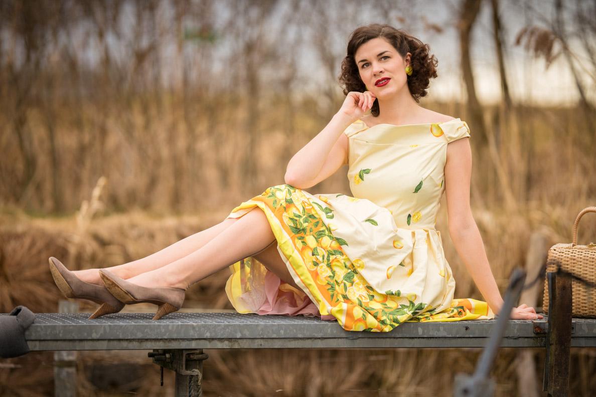 RetroCat in einem Zitronen-Kleid im Vintage-Stil von Lindy Bop