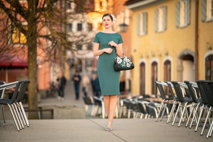 Golden Hour in a green Summer Dress