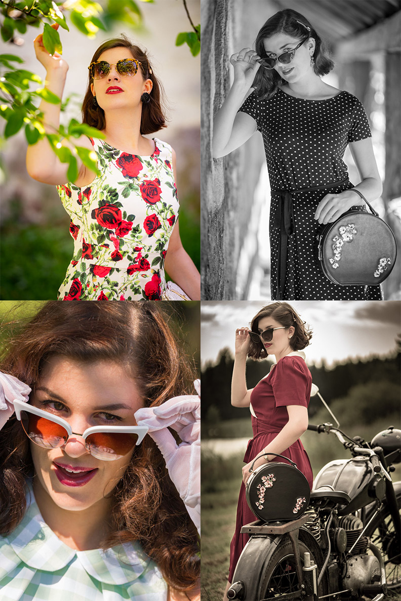 Vintage-Mode-Bloggerin RetroCat mit stylishen Cat-Eye-Sonnenbrillen
