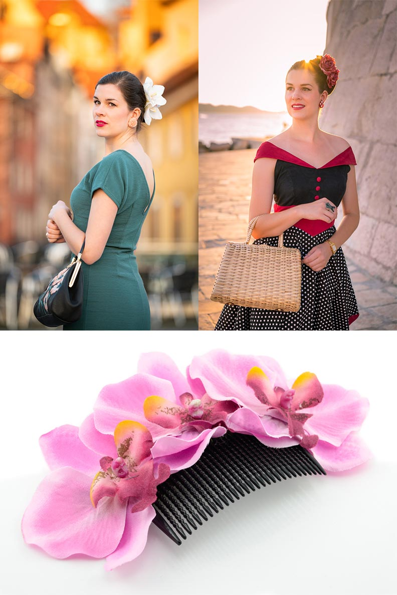 Sandra vom Vintage-Blog RetroCat mit bunten Haarblumen von Sophisticated Lady Hairflowers