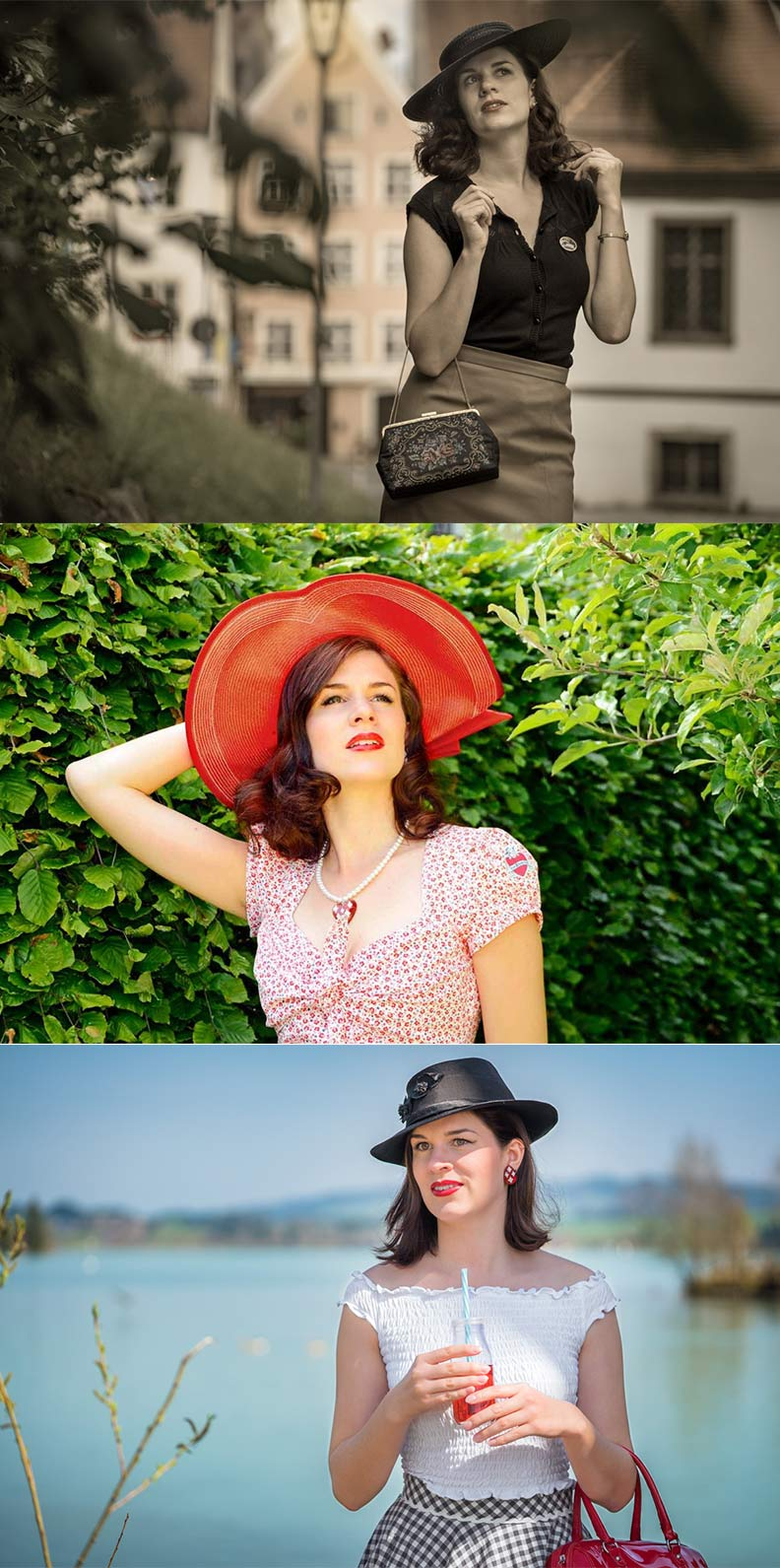 Vintage-Mode-Bloggerin RetroCat mit stylishen Strohhüten für den Sommer im Retro-Stil