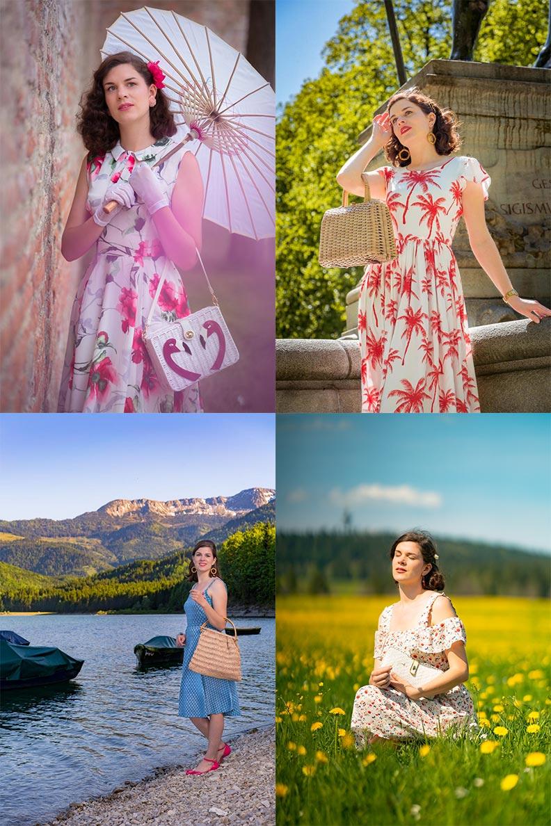 Vintage-Fashion-Bloggerin RetroCat mit sommerlichen Stroh- und Korbtaschen