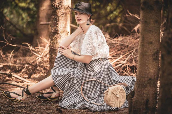 A Walk in the Woods with a Vichy Skirt & Lace Blouse