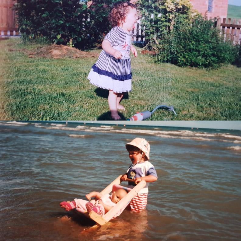 RetroCat als Kind beim Spielen mit und im Wasser