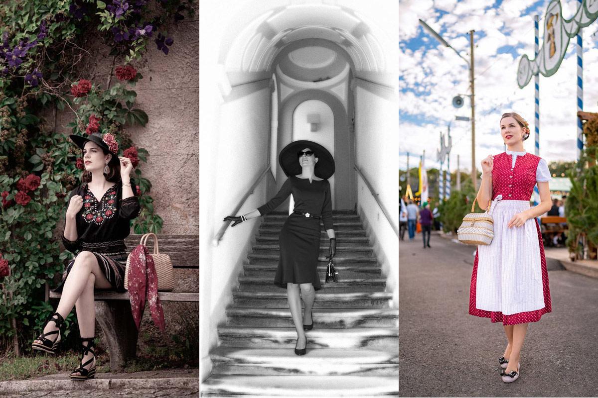 RetroCat in Modeklassikern wie Dirndl, Matyo-Bluse und dem Kleinen Schwarzen