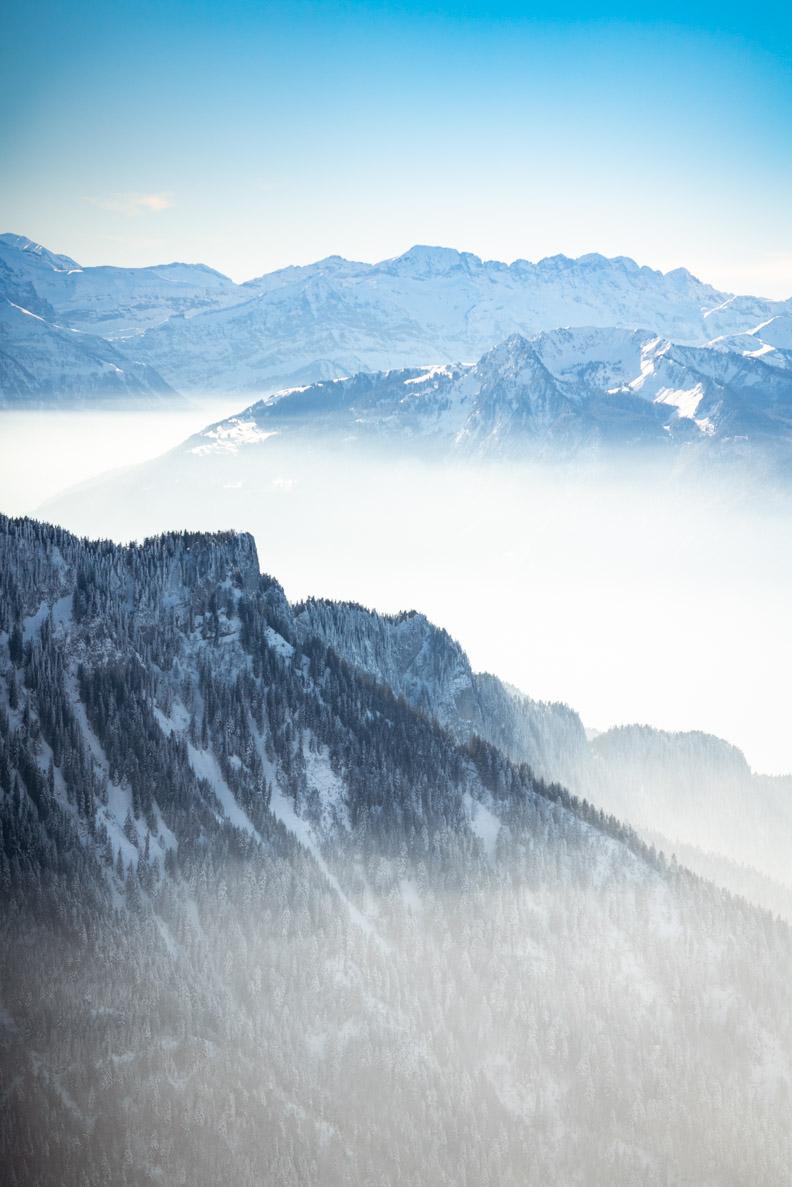 Der Panoramablick vom Rochers de Naye über Montreux aus