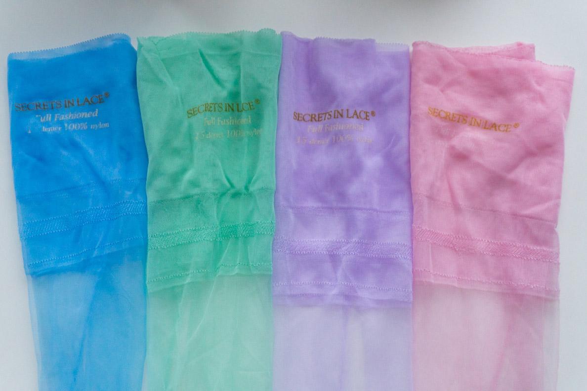 RetroCats pastellfarbene Nylons von Secrets in Lace