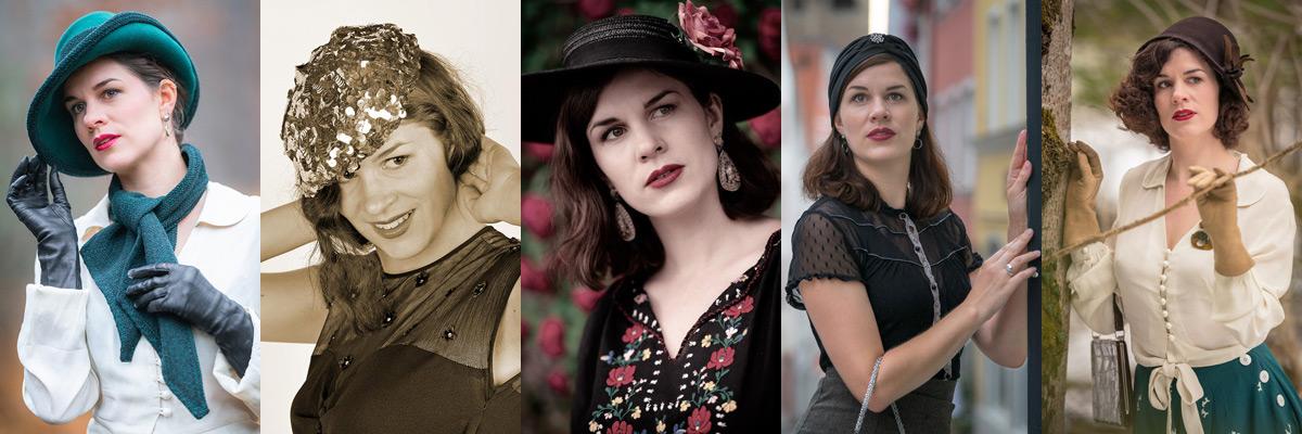 30er-Jahre-Mode: Verschiedene Hutmodelle dieser Zeit: Filzhut, Fedora, Strohhut, Turban, Baskenmütze