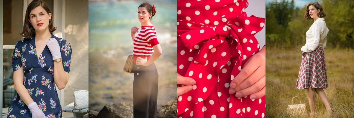 Beliebte Muster in den 30er-Jahren: Blumen, Streifen, Polka-Dots und Karo