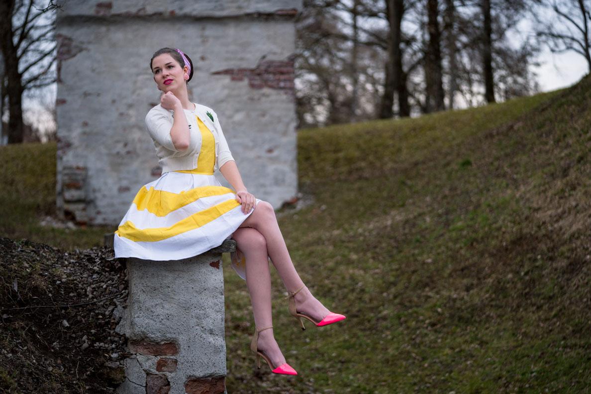 RetroCat in einem gelb-weißen Frühlingskleid von Dolly and Dotty