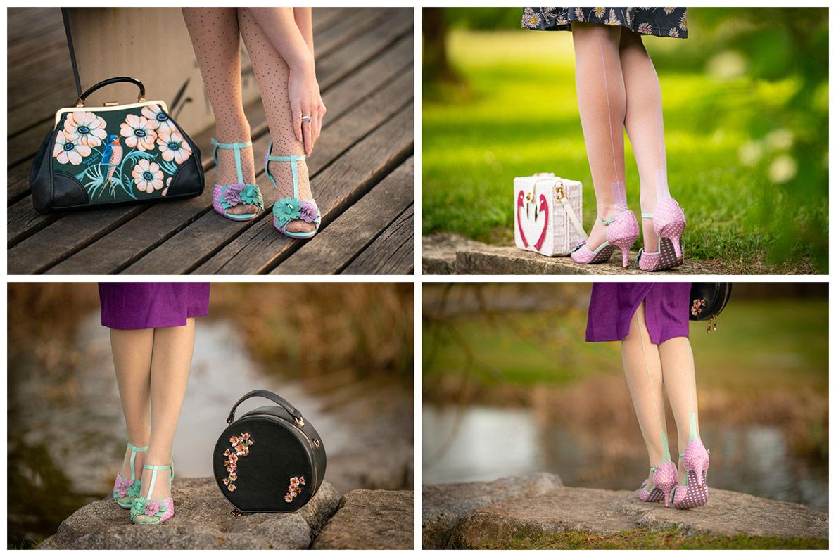 RetroCat trägt aufregende Strümpfe und Strumpfhosen in hübschen Sandalen