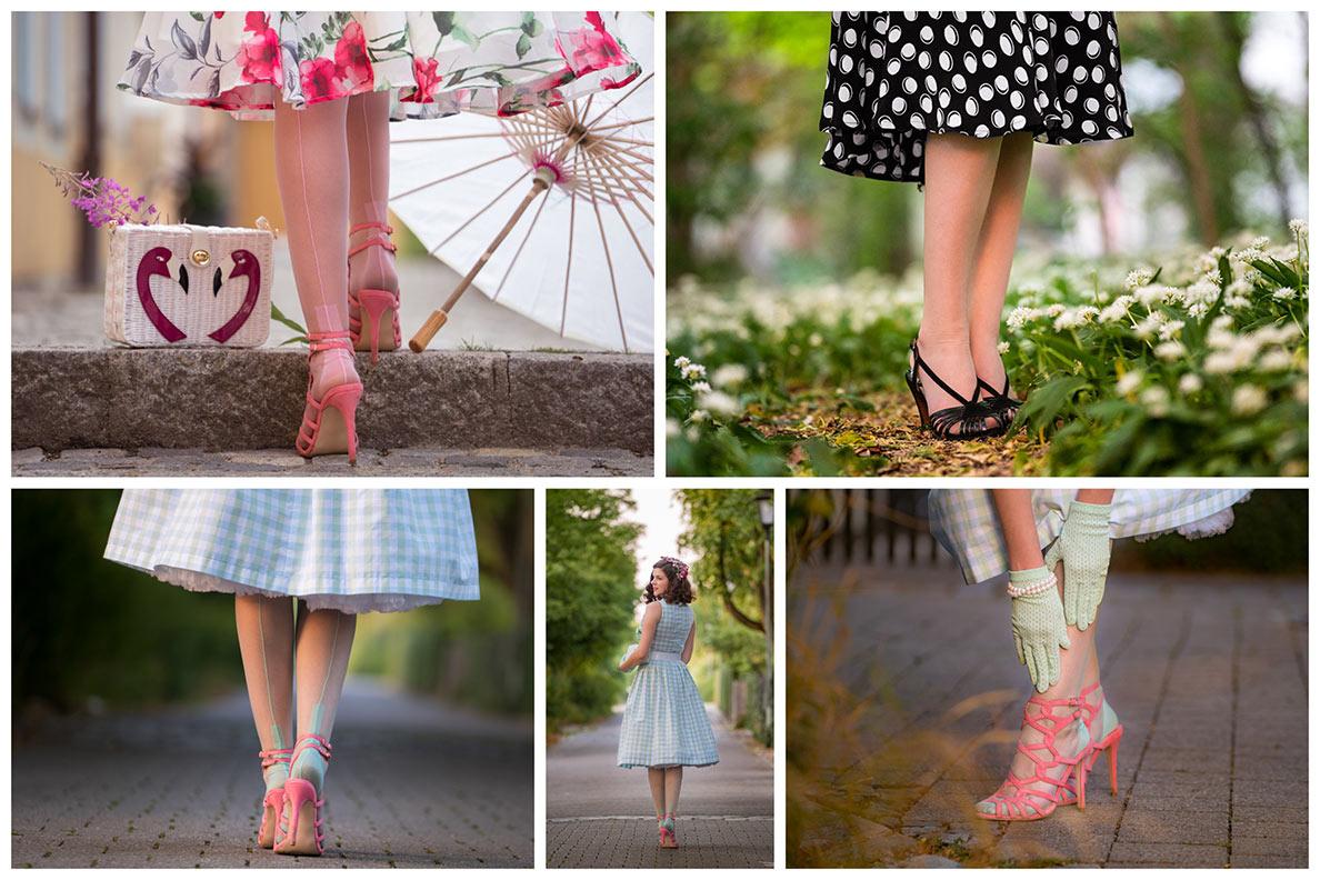 Strumpfhosen in offenen Schuhen tragen: RetroCat mit Nylons und Riemchen-Sandaletten