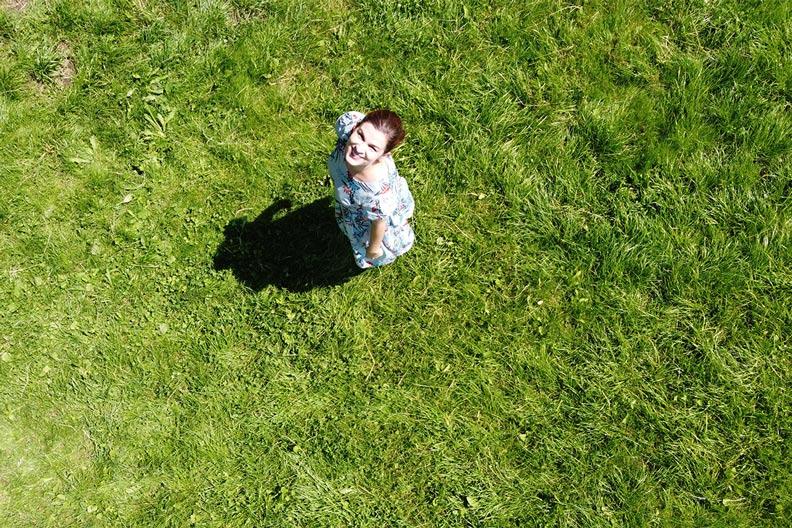 A drone photo taken of RetroCat in a blue summer dress