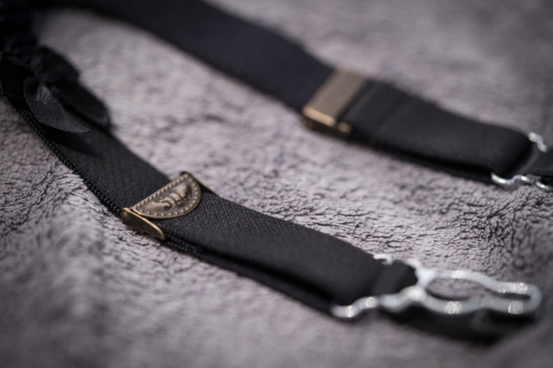 Detail shot of two suspenders