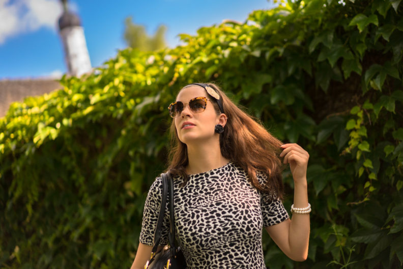 RetroCat in einem Kleid mit Animalprint und mit Retro-Sonnenbrille von Miu Miu