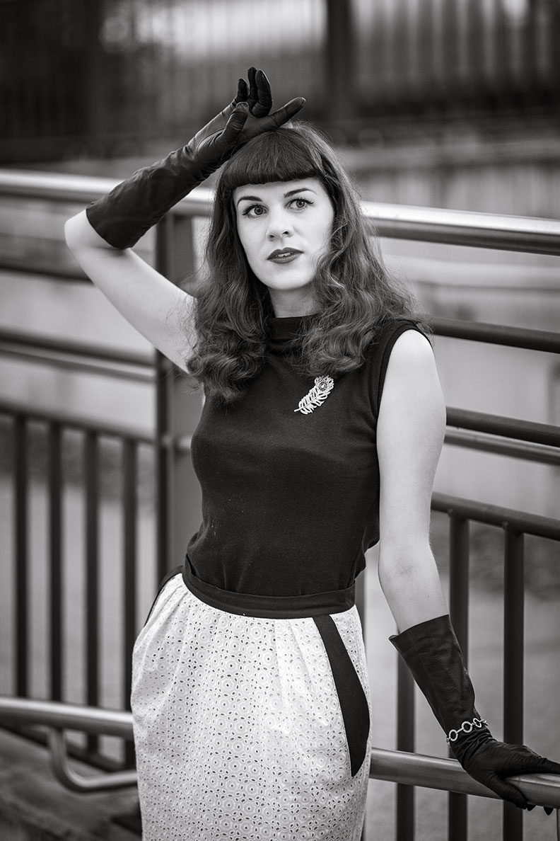 RetroCat wearing a black and white look with a top by Heart of Haute and a pencil skirt by Ginger Jackie