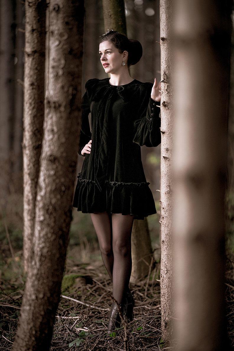 RetroCat in einem Samtkleid mit Schleife von The Vampire's Wife x H&M